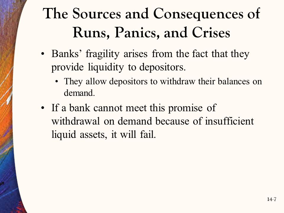 14-38 Government Deposit Insurance Congress' response to the Fed's inability to stem the bank panics of the 1930s was deposit insurance.