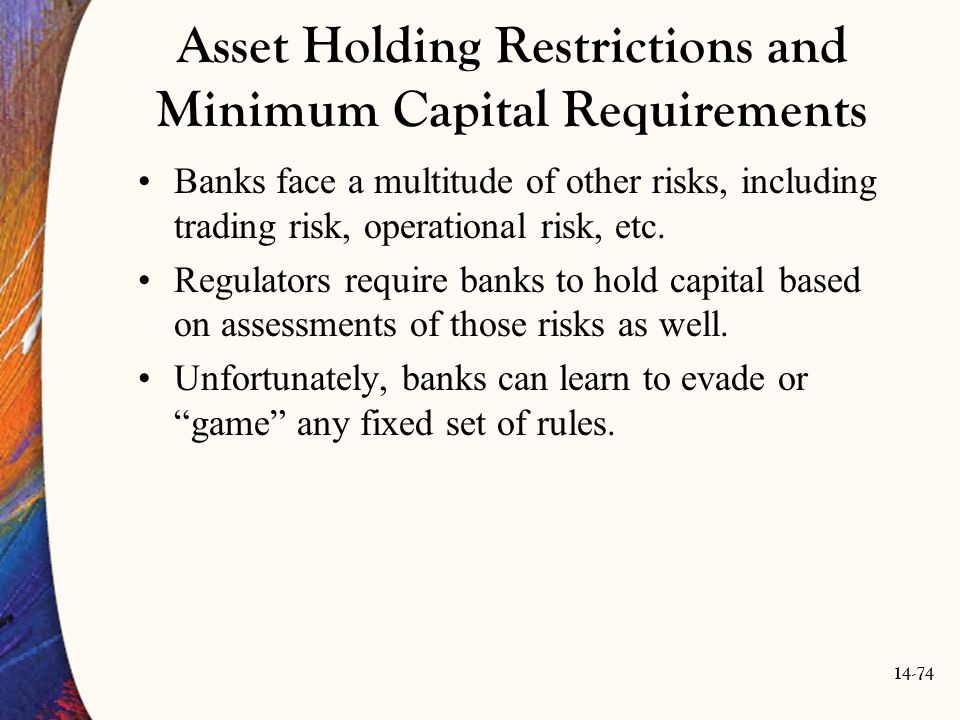 14-74 Asset Holding Restrictions and Minimum Capital Requirements Banks face a multitude of other risks, including trading risk, operational risk, etc