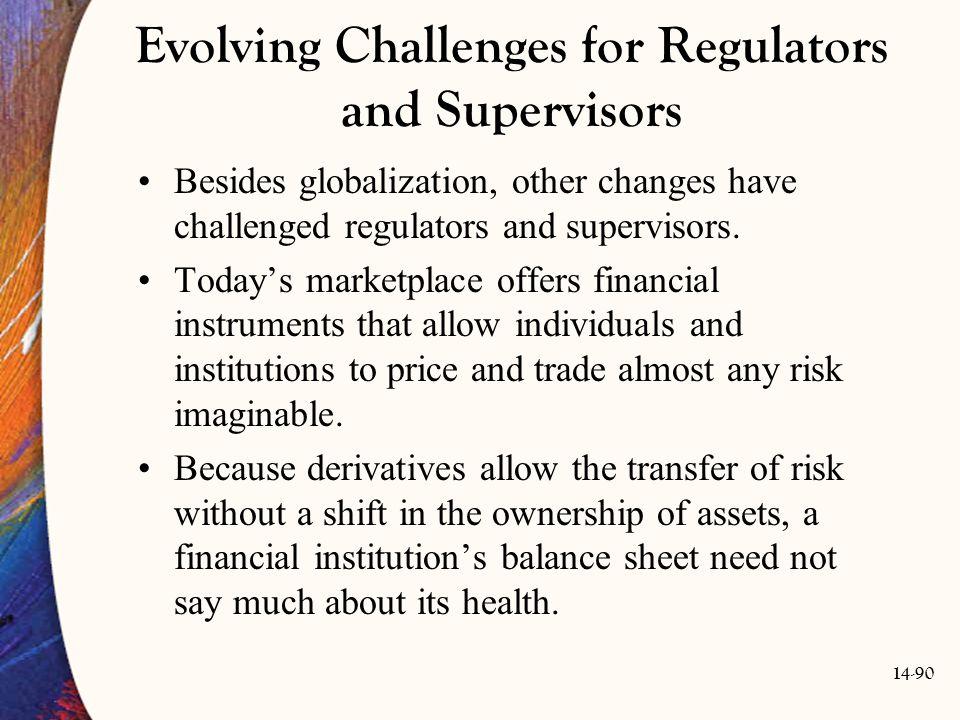 14-90 Evolving Challenges for Regulators and Supervisors Besides globalization, other changes have challenged regulators and supervisors. Today's mark