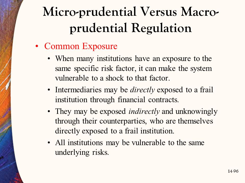 14-96 Micro-prudential Versus Macro- prudential Regulation Common Exposure When many institutions have an exposure to the same specific risk factor, i