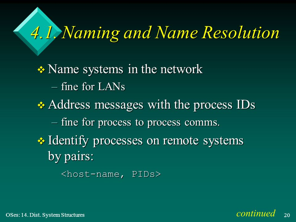 OSes: 14. Dist. System Structures 20 4.1.