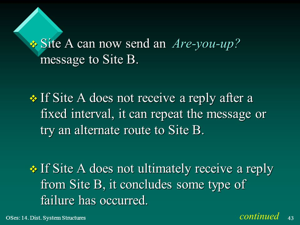 OSes: 14. Dist. System Structures 43 v Site A can now send an Are-you-up? message to Site B. v If Site A does not receive a reply after a fixed interv