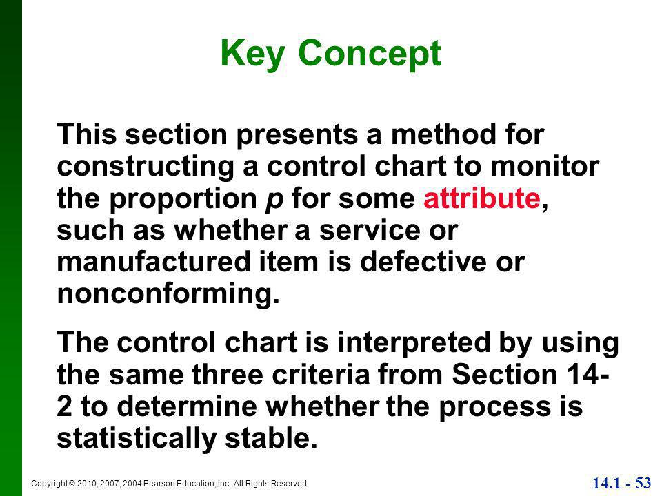 Copyright © 2010, 2007, 2004 Pearson Education, Inc. All Rights Reserved. 14.1 - 53 Key Concept This section presents a method for constructing a cont