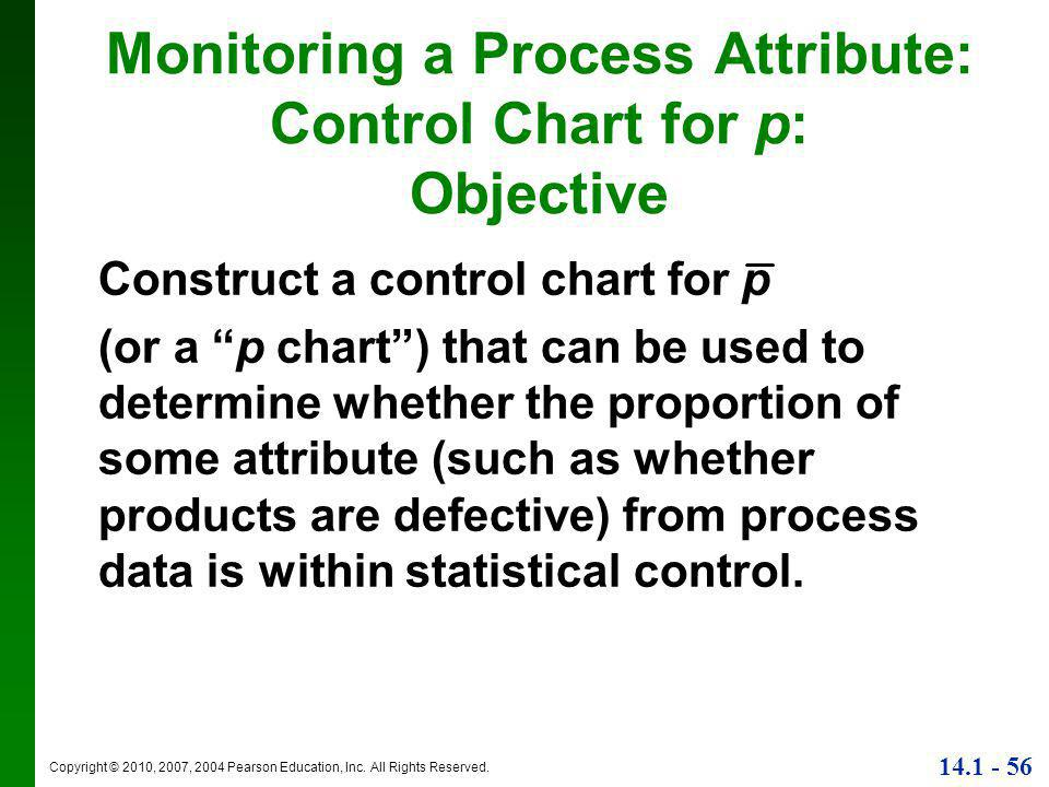 """Copyright © 2010, 2007, 2004 Pearson Education, Inc. All Rights Reserved. 14.1 - 56 Construct a control chart for p (or a """"p chart"""") that can be used"""