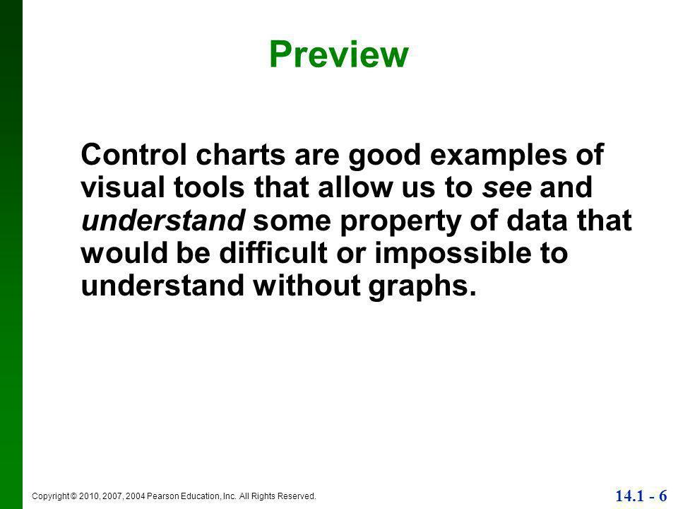 Copyright © 2010, 2007, 2004 Pearson Education, Inc. All Rights Reserved. 14.1 - 6 Preview Control charts are good examples of visual tools that allow