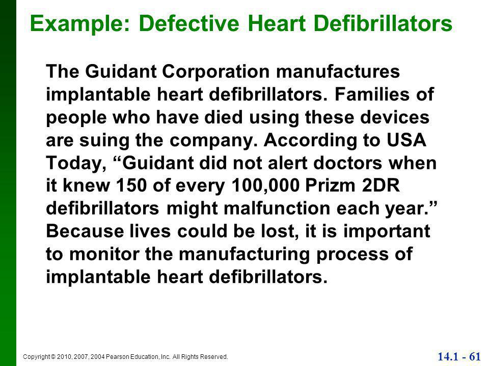 Copyright © 2010, 2007, 2004 Pearson Education, Inc. All Rights Reserved. 14.1 - 61 The Guidant Corporation manufactures implantable heart defibrillat