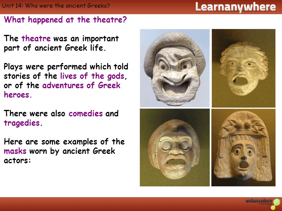Unit 14: Who were the ancient Greeks. What happened at the theatre.