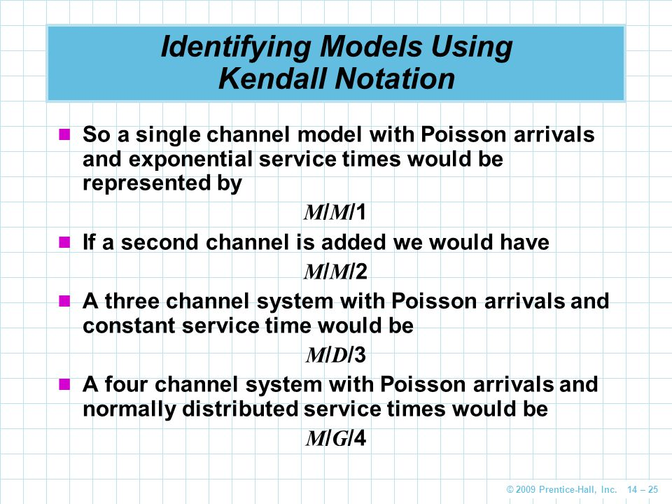 © 2009 Prentice-Hall, Inc. 14 – 25 Identifying Models Using Kendall Notation So a single channel model with Poisson arrivals and exponential service t