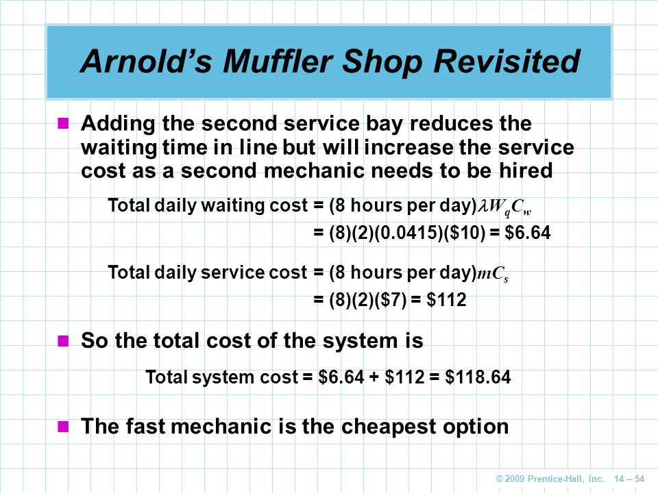 © 2009 Prentice-Hall, Inc. 14 – 54 Arnold's Muffler Shop Revisited Adding the second service bay reduces the waiting time in line but will increase th
