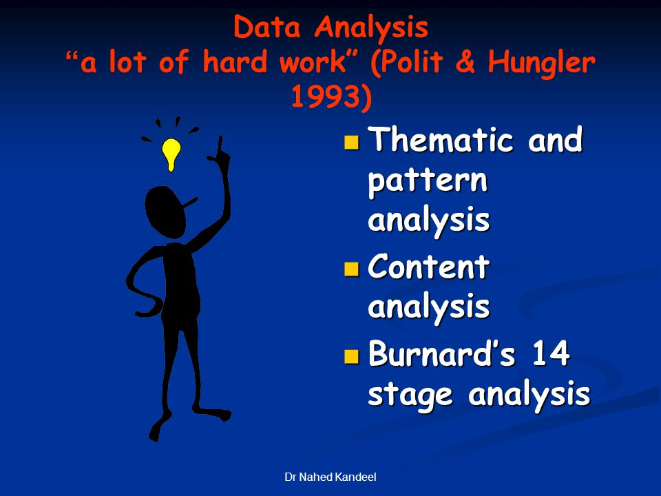 """Dr Nahed Kandeel Data Analysis """"a lot of hard work"""" (Polit & Hungler 1993) Thematic and pattern analysis Content analysis Burnard's 14 stage analysis"""