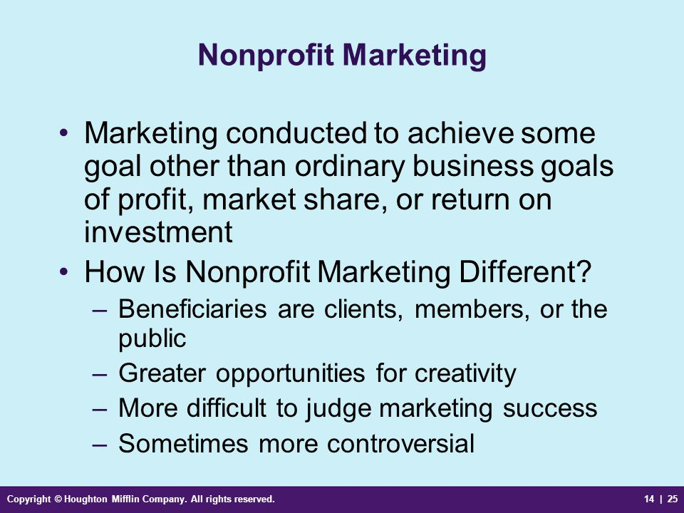 Copyright © Houghton Mifflin Company. All rights reserved.14 | 25 Nonprofit Marketing Marketing conducted to achieve some goal other than ordinary bus