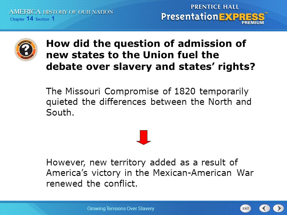 Chapter 14 Section 1 Growing Tensions Over Slavery How did the question of admission of new states to the Union fuel the debate over slavery and states' rights.