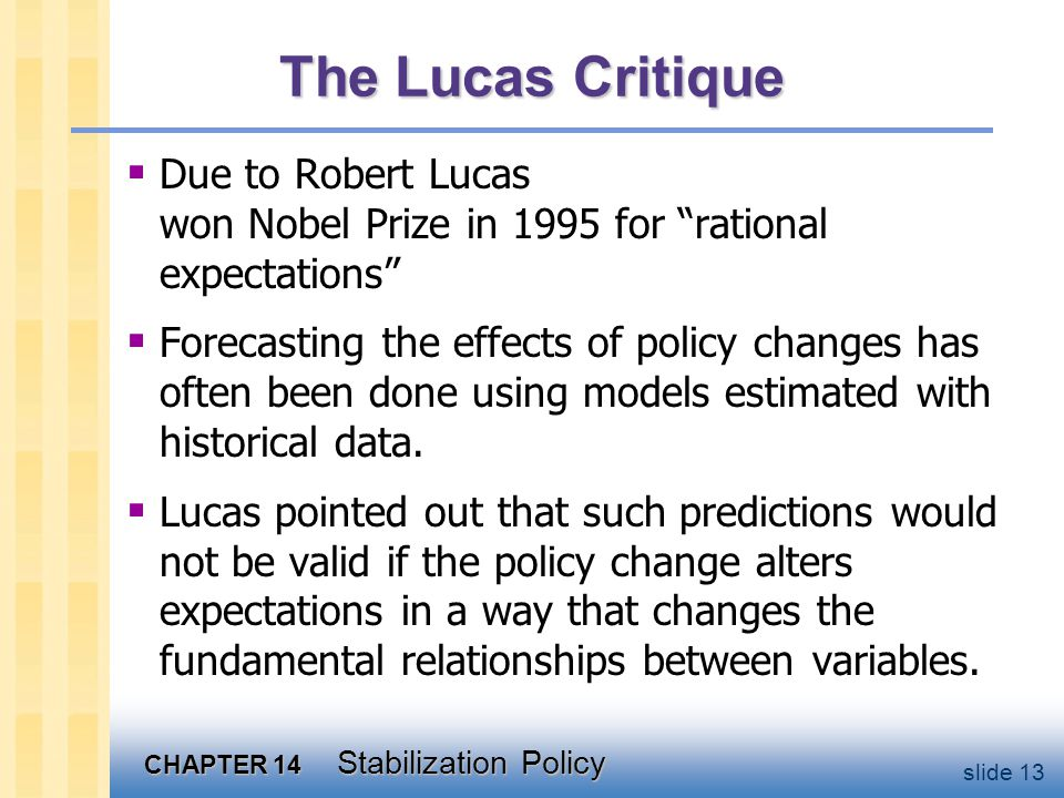 CHAPTER 14 Stabilization Policy slide 13 The Lucas Critique  Due to Robert Lucas won Nobel Prize in 1995 for rational expectations  Forecasting the effects of policy changes has often been done using models estimated with historical data.