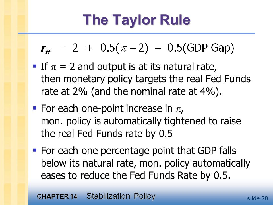 CHAPTER 14 Stabilization Policy slide 28 The Taylor Rule  If  = 2 and output is at its natural rate, then monetary policy targets the real Fed Funds rate at 2% (and the nominal rate at 4%).