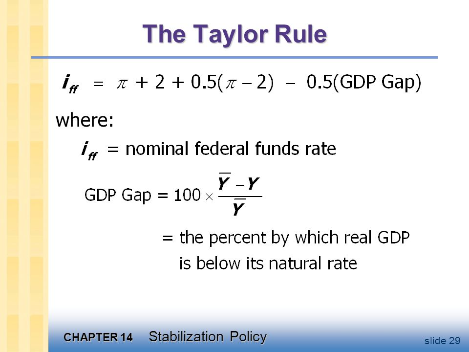 CHAPTER 14 Stabilization Policy slide 29 The Taylor Rule where: