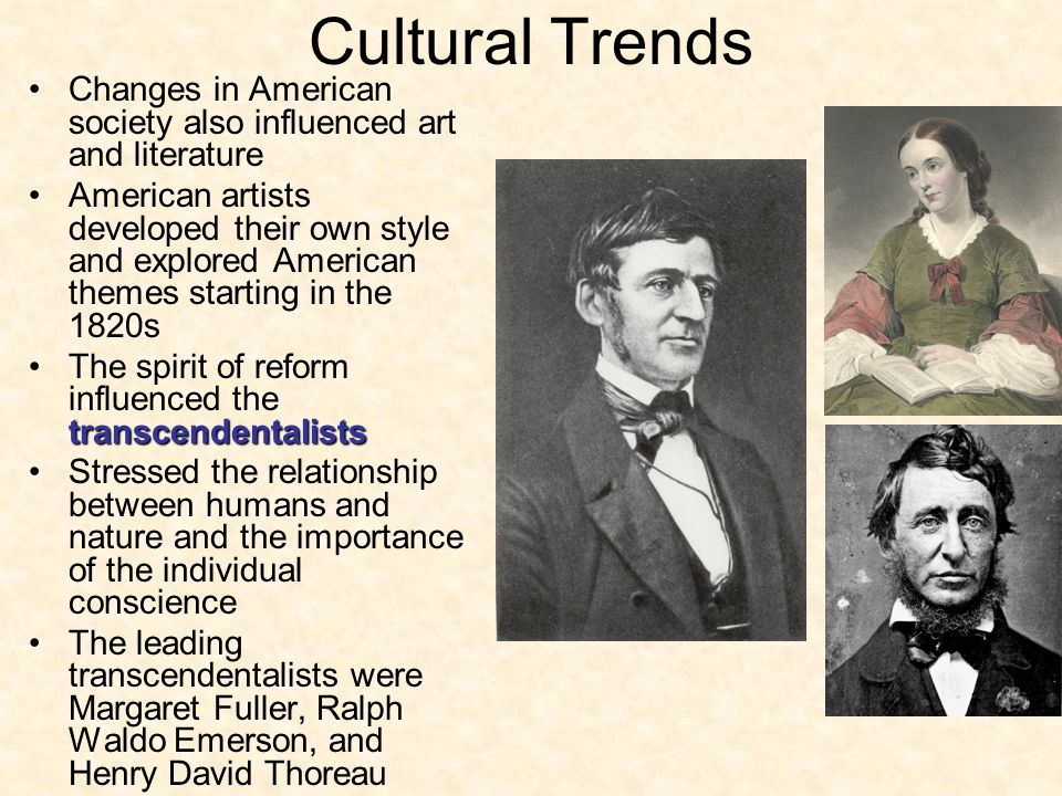 Cultural Trends Changes in American society also influenced art and literature American artists developed their own style and explored American themes
