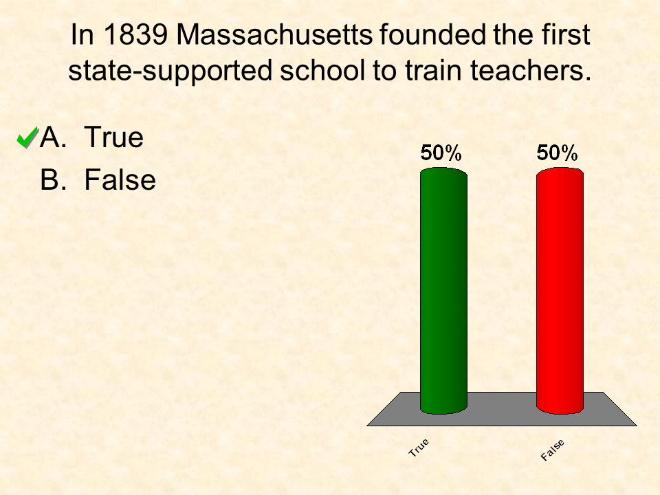 In 1839 Massachusetts founded the first state-supported school to train teachers. A.True B.False