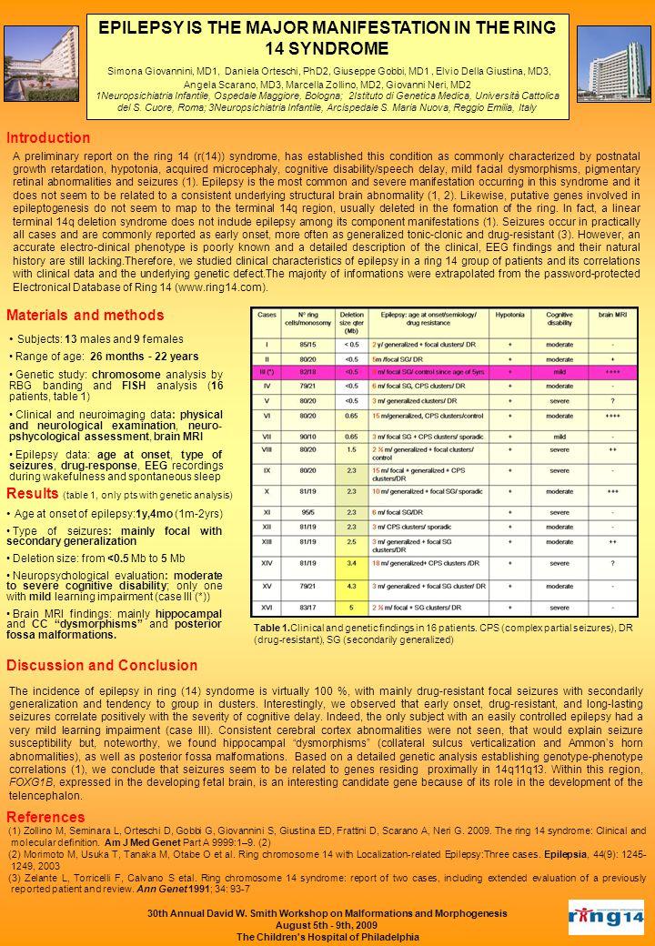 EPILEPSY IS THE MAJOR MANIFESTATION IN THE RING 14 SYNDROME Simona Giovannini, MD1, Daniela Orteschi, PhD2, Giuseppe Gobbi, MD1, Elvio Della Giustina,