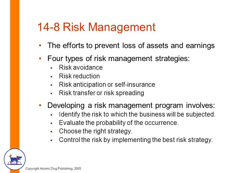 Copyright Atomic Dog Publishing, 2005 14-8 Risk Management The efforts to prevent loss of assets and earnings Four types of risk management strategies