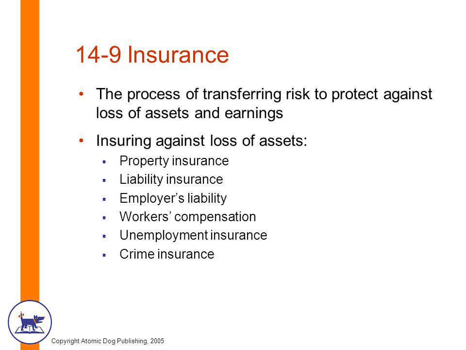 Copyright Atomic Dog Publishing, 2005 14-9 Insurance The process of transferring risk to protect against loss of assets and earnings Insuring against