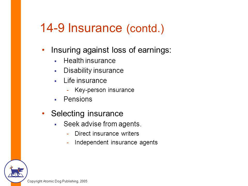 Copyright Atomic Dog Publishing, 2005 14-9 Insurance (contd.) Insuring against loss of earnings:  Health insurance  Disability insurance  Life insu