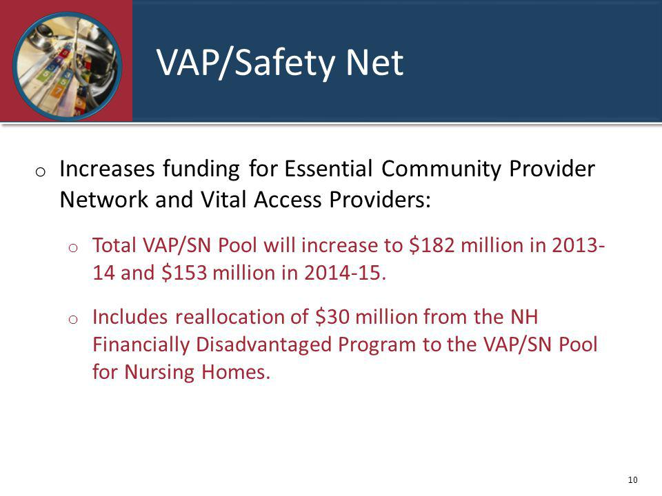 VAP/Safety Net o Increases funding for Essential Community Provider Network and Vital Access Providers: o Total VAP/SN Pool will increase to $182 million in 2013- 14 and $153 million in 2014-15.