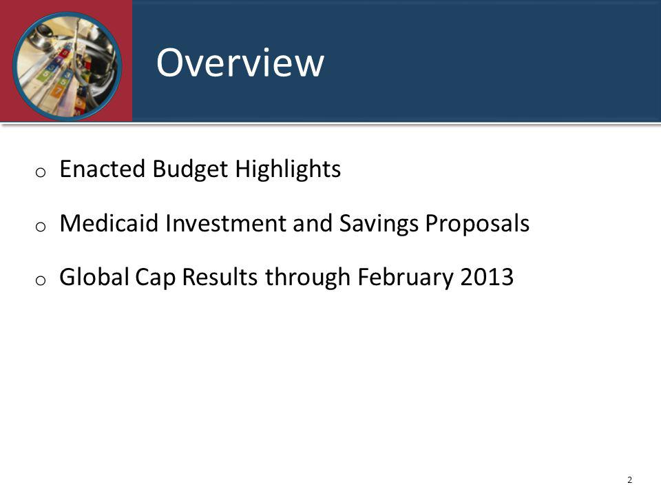 Overview o Enacted Budget Highlights o Medicaid Investment and Savings Proposals o Global Cap Results through February 2013 2
