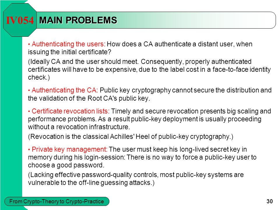 30 From Crypto-Theory to Crypto-Practice MAIN PROBLEMS Authenticating the users: How does a CA authenticate a distant user, when issuing the initial c