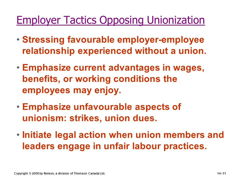Copyright © 2008 by Nelson, a division of Thomson Canada Ltd.14–11 Employer Tactics Opposing Unionization Stressing favourable employer-employee relat