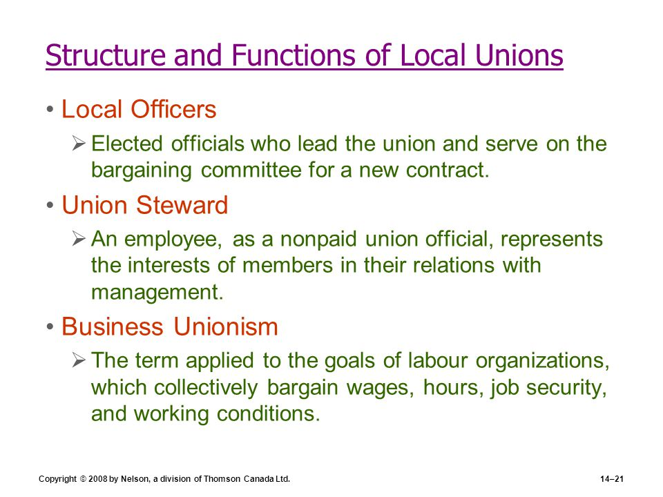 Copyright © 2008 by Nelson, a division of Thomson Canada Ltd.14–21 Structure and Functions of Local Unions Local Officers  Elected officials who lead