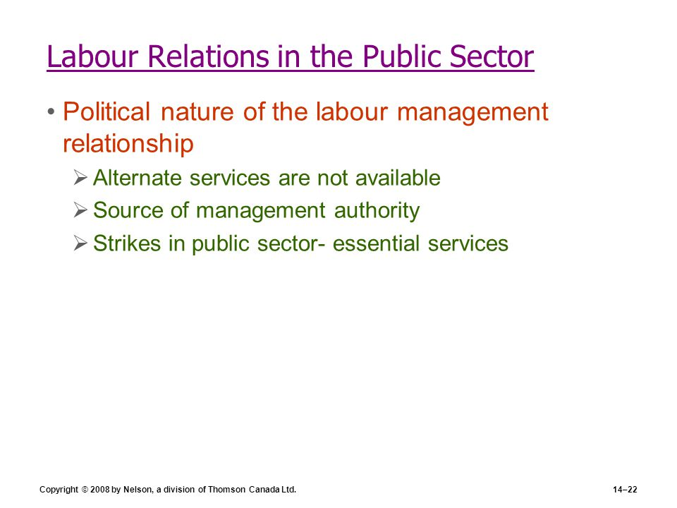 Copyright © 2008 by Nelson, a division of Thomson Canada Ltd.14–22 Labour Relations in the Public Sector Political nature of the labour management rel