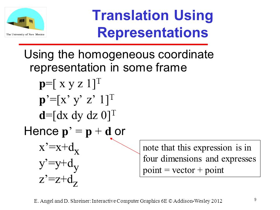 9 E. Angel and D. Shreiner: Interactive Computer Graphics 6E © Addison-Wesley 2012 Translation Using Representations Using the homogeneous coordinate