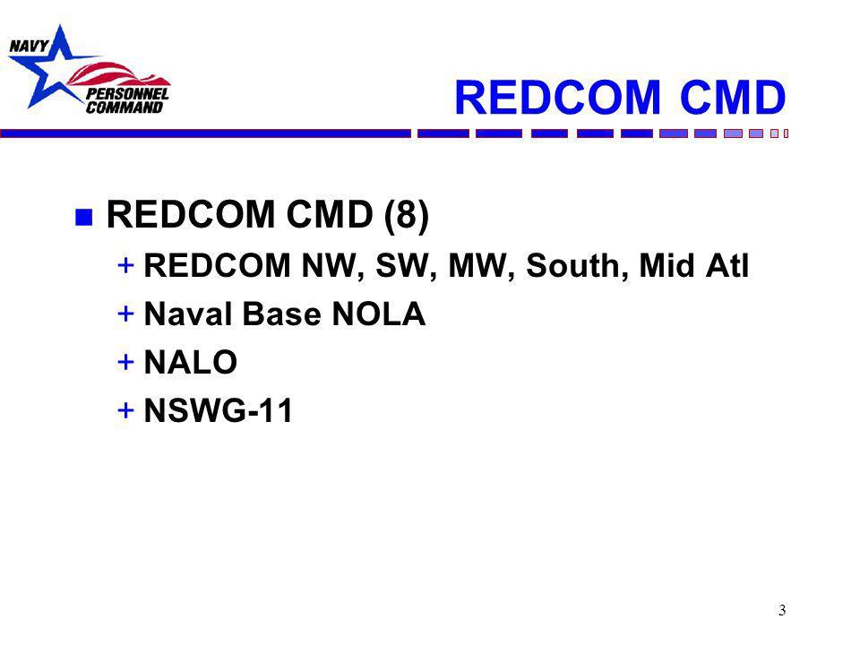 3 REDCOM CMD n REDCOM CMD (8) +REDCOM NW, SW, MW, South, Mid Atl +Naval Base NOLA +NALO +NSWG-11