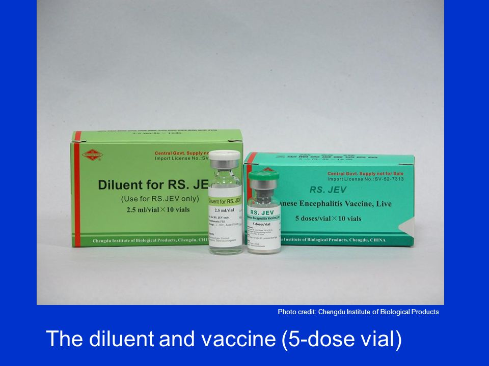 The diluent and vaccine (5-dose vial) Photo credit: Chengdu Institute of Biological Products