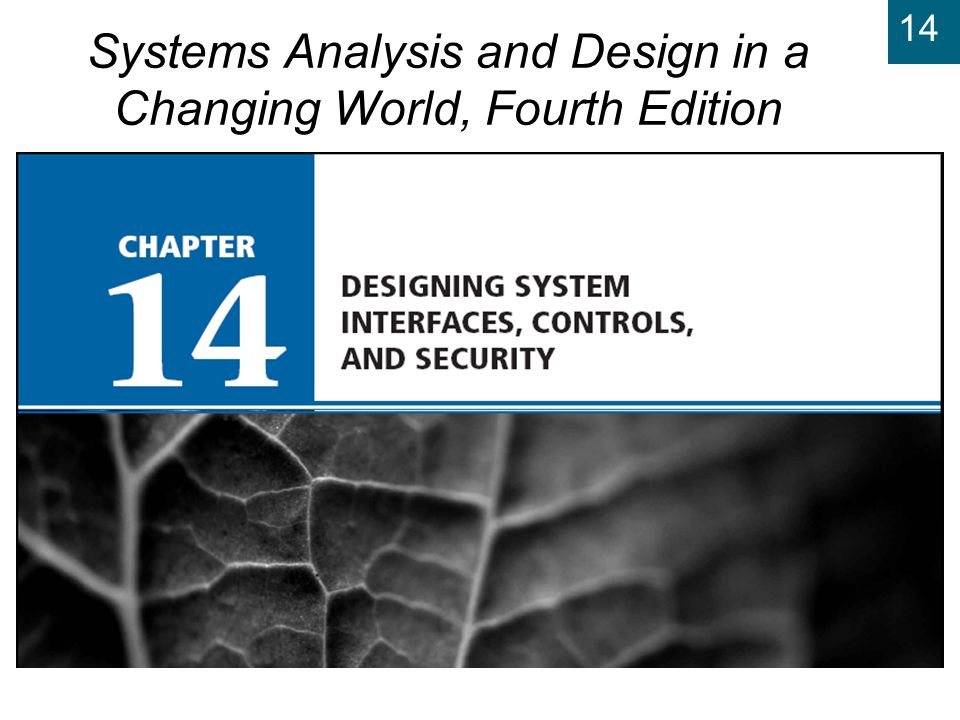 14 Systems Analysis and Design in a Changing World, 4th Edition 42 Managing User Access u Most common technique is user ID / password u Authorization – Is user permitted to access.