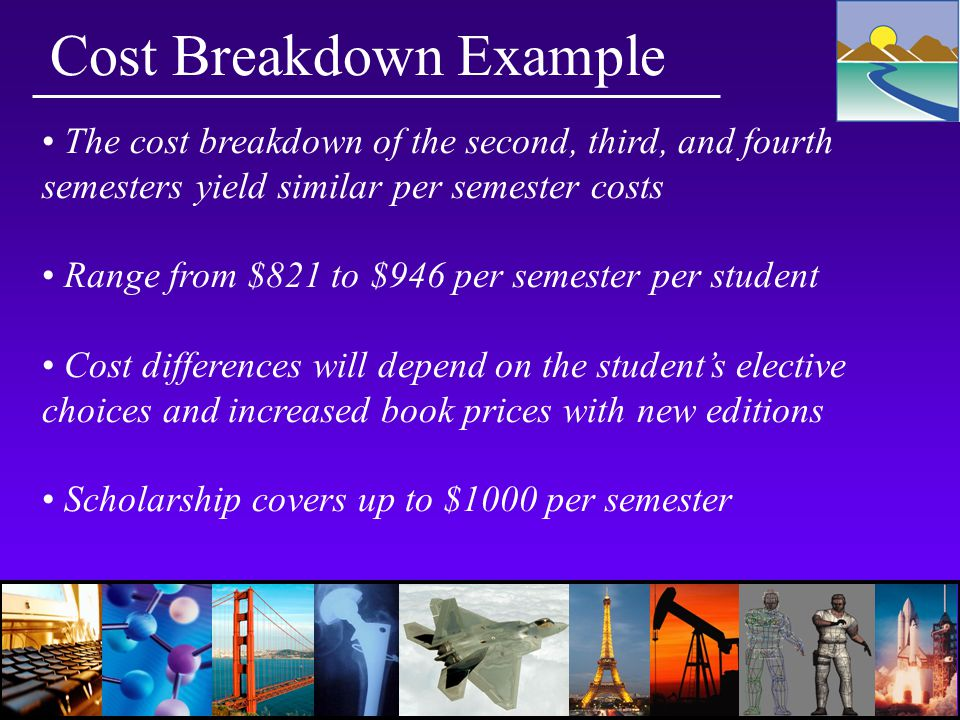 Cost Breakdown Example The cost breakdown of the second, third, and fourth semesters yield similar per semester costs Range from $821 to $946 per semester per student Cost differences will depend on the student's elective choices and increased book prices with new editions Scholarship covers up to $1000 per semester
