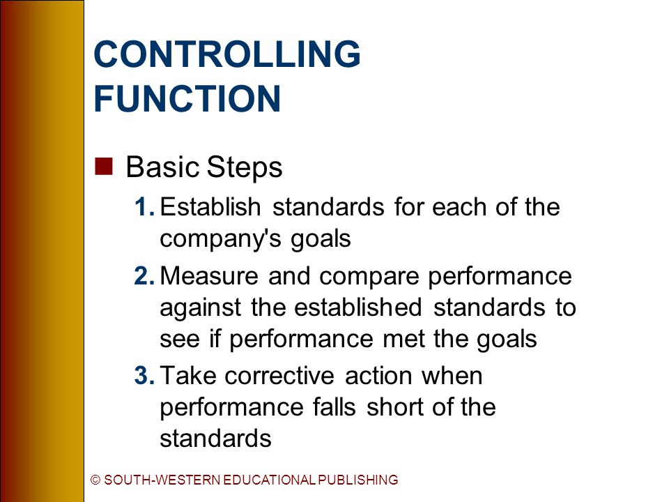 © SOUTH-WESTERN EDUCATIONAL PUBLISHING CONTROLLING FUNCTION nBasic Steps 1.Establish standards for each of the company s goals 2.Measure and compare performance against the established standards to see if performance met the goals 3.Take corrective action when performance falls short of the standards