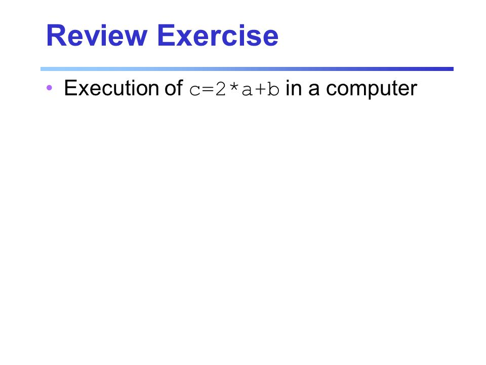 Review Exercise Execution of c=2*a+b in a computer