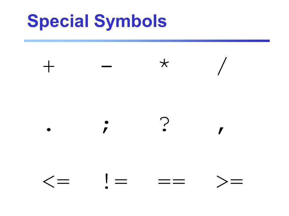 Special Symbols +-*/.;?, =