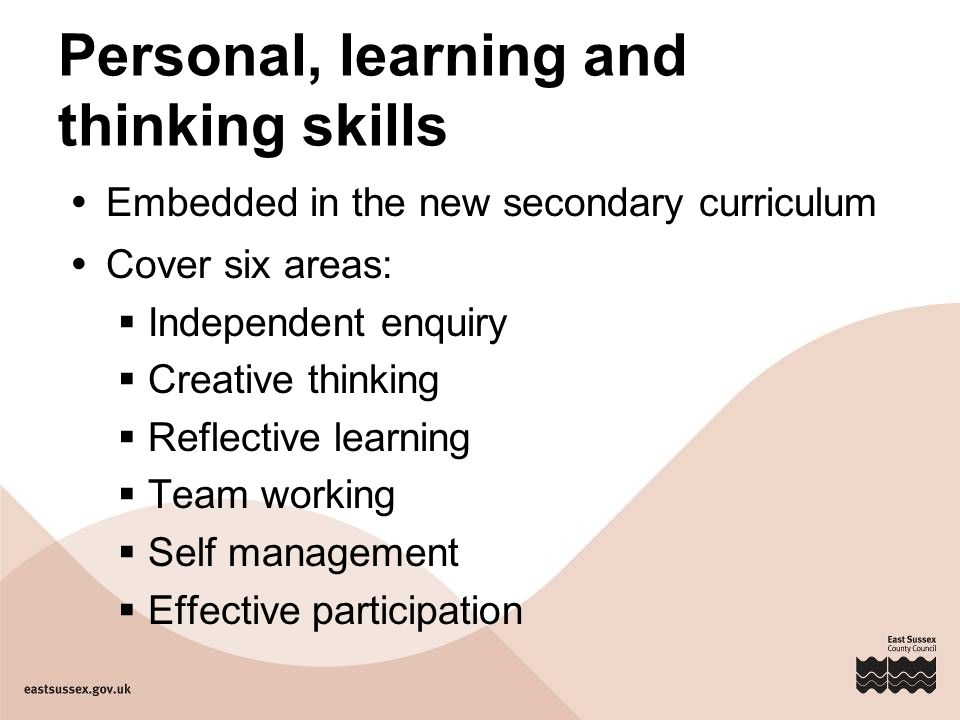 Personal, learning and thinking skills  Embedded in the new secondary curriculum  Cover six areas:  Independent enquiry  Creative thinking  Reflective learning  Team working  Self management  Effective participation