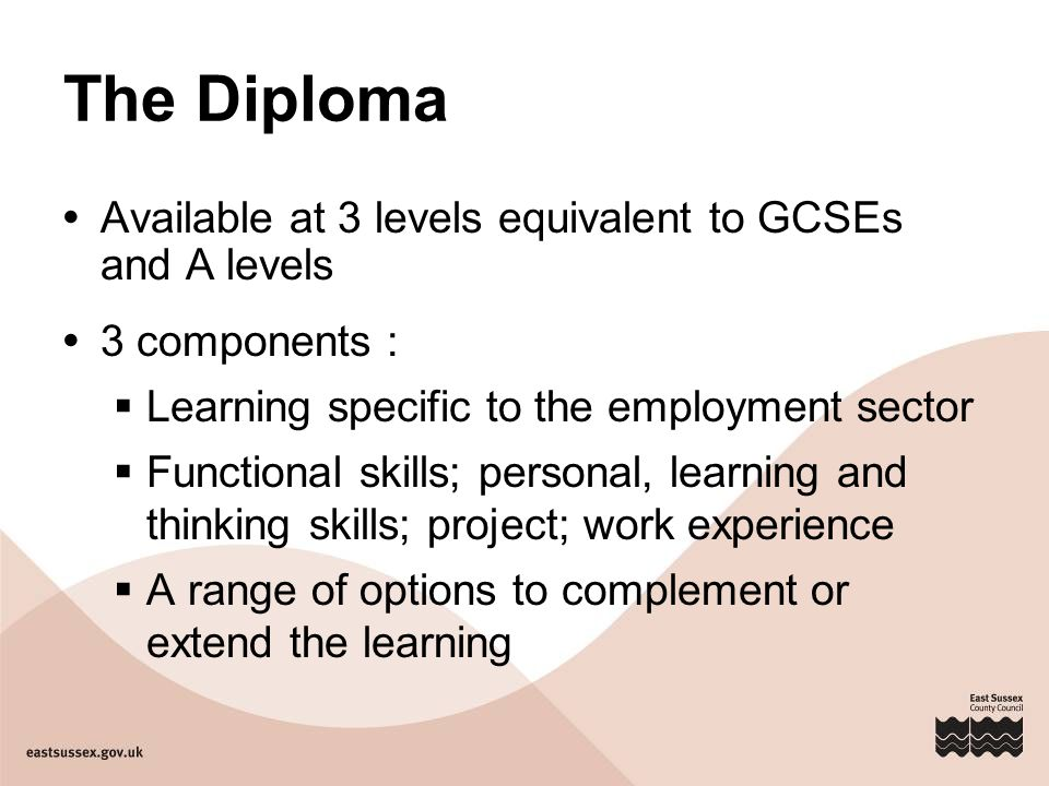 The Diploma  Available at 3 levels equivalent to GCSEs and A levels  3 components :  Learning specific to the employment sector  Functional skills; personal, learning and thinking skills; project; work experience  A range of options to complement or extend the learning