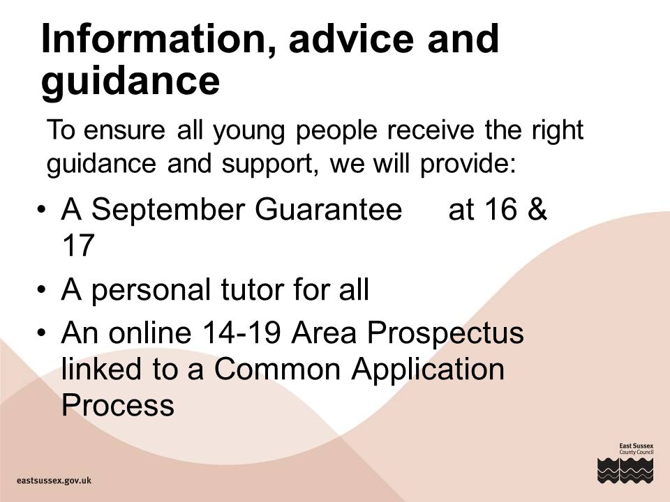 Information, advice and guidance A September Guarantee at 16 & 17 A personal tutor for all An online 14-19 Area Prospectus linked to a Common Application Process To ensure all young people receive the right guidance and support, we will provide: