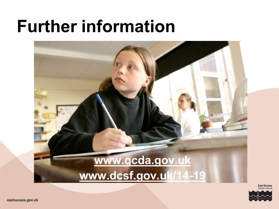 Further information www.qcda.gov.uk www.dcsf.gov.uk/14-19