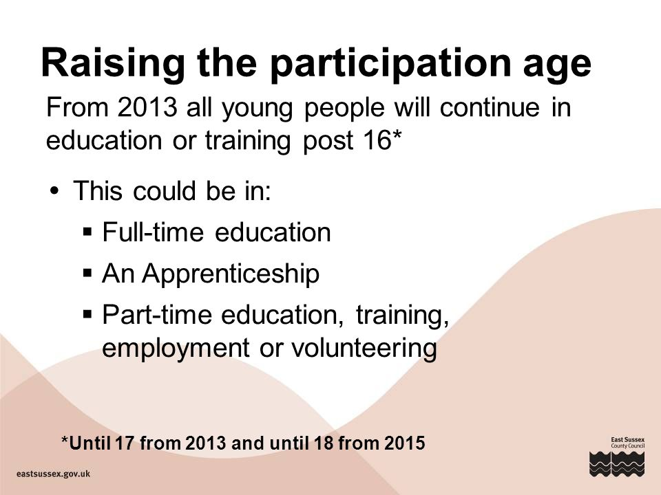 Raising the participation age  This could be in:  Full-time education  An Apprenticeship  Part-time education, training, employment or volunteering *Until 17 from 2013 and until 18 from 2015 From 2013 all young people will continue in education or training post 16*