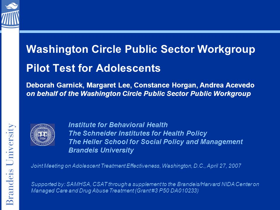 Washington Circle Public Sector Workgroup Pilot Test for Adolescents Institute for Behavioral Health The Schneider Institutes for Health Policy The Heller School for Social Policy and Management Brandeis University Joint Meeting on Adolescent Treatment Effectiveness, Washington, D.C., April 27, 2007 Supported by: SAMHSA, CSAT through a supplement to the Brandeis/Harvard NIDA Center on Managed Care and Drug Abuse Treatment (Grant #3 P50 DA010233) Deborah Garnick, Margaret Lee, Constance Horgan, Andrea Acevedo on behalf of the Washington Circle Public Sector Public Workgroup