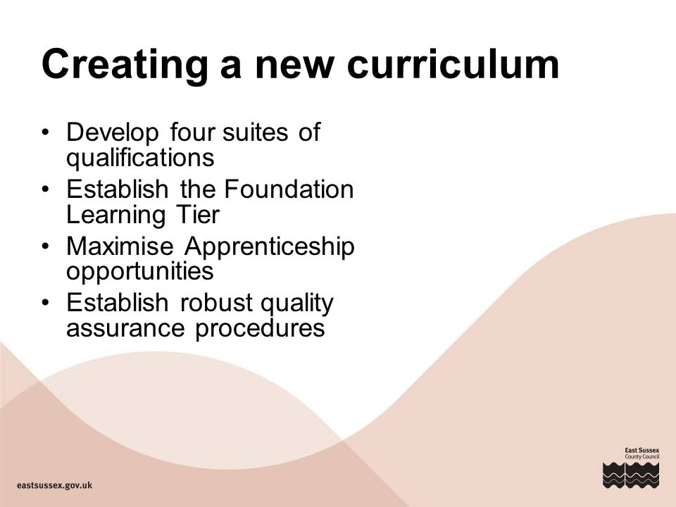 Creating a new curriculum Develop four suites of qualifications Establish the Foundation Learning Tier Maximise Apprenticeship opportunities Establish robust quality assurance procedures