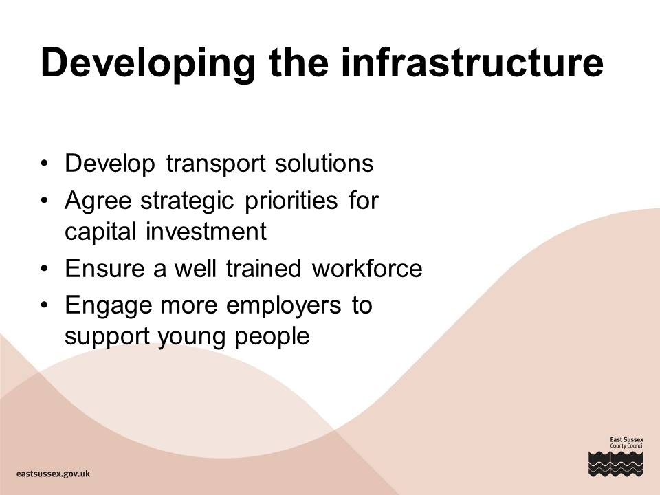 Developing the infrastructure Develop transport solutions Agree strategic priorities for capital investment Ensure a well trained workforce Engage more employers to support young people