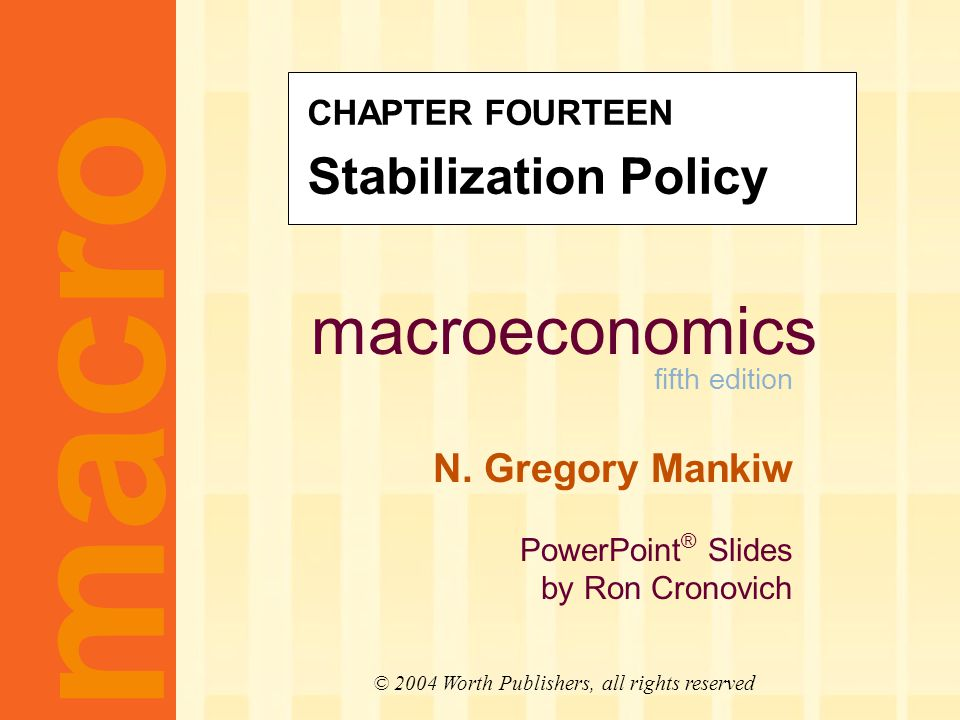 CHAPTER 14 Stabilization Policy slide 1 Learning objectives In this chapter, you will learn about two policy debates: 1.