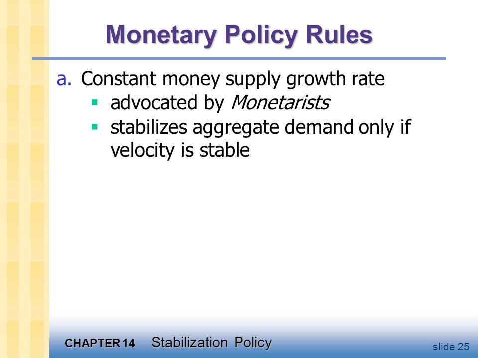 CHAPTER 14 Stabilization Policy slide 25 Monetary Policy Rules a.Constant money supply growth rate  advocated by Monetarists  stabilizes aggregate demand only if velocity is stable