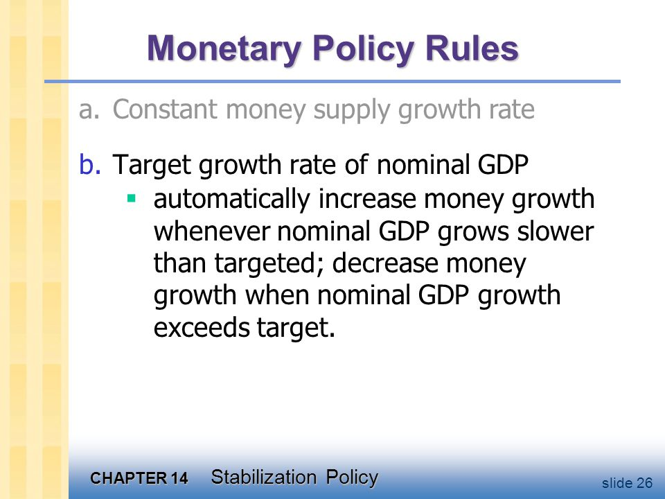 CHAPTER 14 Stabilization Policy slide 26 Monetary Policy Rules b.Target growth rate of nominal GDP  automatically increase money growth whenever nominal GDP grows slower than targeted; decrease money growth when nominal GDP growth exceeds target.